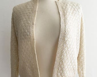 Exquisite Vintage 1950-1960s Cardigan Sweater. Handmade Floral Cable Knit.  Sequins. Cream