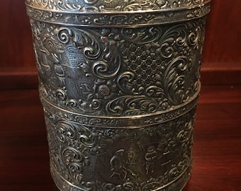 SALE SAVE 30%! Stunning Barbour Silver Company Rare Art Nouveau Repoussé Silver Plate Tea Caddy with Pressed Glass Insert