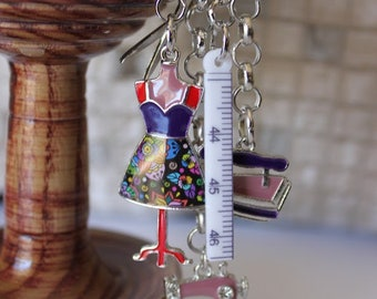 Scissor Fob, Sewing Accessories, Scissor Charm, Zipper Pull, Needle Craft Gifts