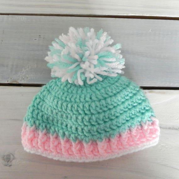 Crochet Baby Girl Hat, Pom Pom Hat, Newborn Beanie, Coming Home Hat, Baby Shower Gift, Newborn Hat, Photo Prop Hat, Baby Girl Hat