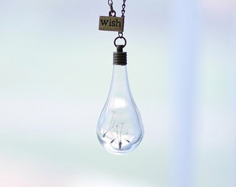 SALE 20% OFF Dandelion Necklace Glass Teardrop Pendant Hollow Bead Dandelion Seeds