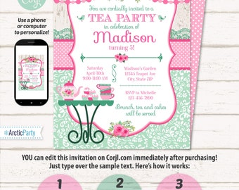 Tea Party Invitation - Tea Party Birthday Invitation - Tea Party Supplies - Tea Party Ideas - INSTANT ACCESS - Edit NOW using Corjl.com!