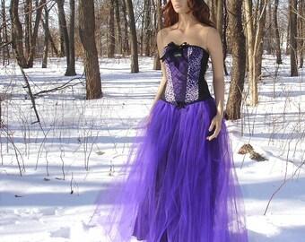Wedding  bride bridal bridesmaids black tie prom ballroom Gothic Royal Purple Formal Length Tulle  tutu Skirt Adult all sizes MTCoffinz