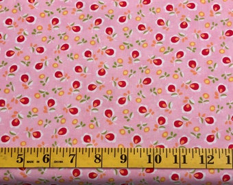 Moda Chloe's Closer Sew & Sew 33185-11 Red Flower Pink Cotton Fabric By the Yard