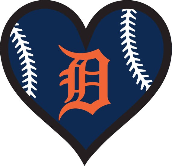 30 off detroit tigers baseball heart file decal logo for car rh etsy com