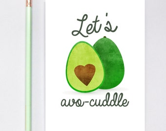 Let's Avocuddle Greeting Card, long distance boyfriend gift, boyfriend gift, long distance boyfriend card