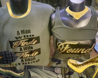 Man who finds a wife couples t shirts. Green and Gold HTV