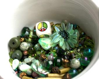 Green destash Bead Mix #19- 100 grams - vintage enamel, glass, greek ceramic, mop. peace