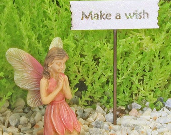 Make A Wish Fairy and Sign, Wishing Fairy, Praying Fairy, Fairy Garden Fairy, Fairy Miniature Figure, Fairy Garden Accessory, Cake Topper