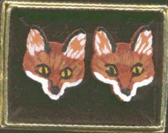 Wooden RED FOX Mask Faces Hand-painted Post Earrings