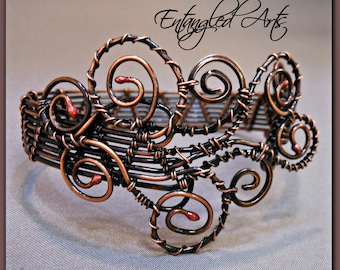 Wire wrapped Copper Bracelet