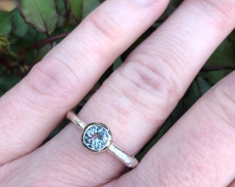 aquamarine engagement ring . alternative engagement . handcrafted sterling silver engagement ring peacesofindigo . ready to ship size 6.5