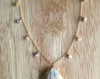 sunrise shell and tourmaline necklace