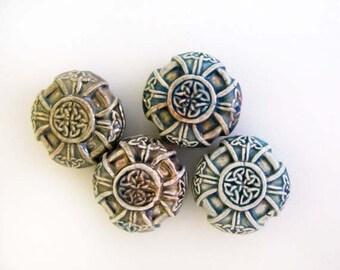 10 Raku Celtic Cross Beads