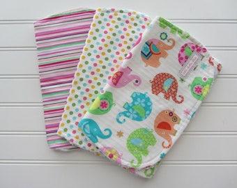 Elephants Baby Girl Burp Cloth Set, Pink, Lime, Yellow, Dots. Stripes, Burp Cloth Gift Set of 3, Cotton Chenille Burp Cloth Set
