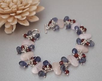Pink Morganite Iolite Rhodolite Garnet Sterling Silver Bracelet, Handmade Bracelet, Handmade Jewelry, Multi Stone Bracelet, Summer Bracelet