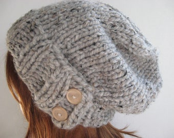 Knit Hat, Women Knit Hat, Slouchy Knit Hat, Chunky Knit Wool Hat / KEYSTONE / Grey Marble