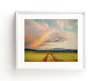"""large colorful landscape wall art, large wall art, large art, large landscape prints, clouds, summer, mountains, art - """"The Great Wide Open"""""""