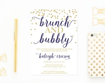 Bridal Shower Invitation, Bridal Shower Invite, Brunch Invitation, Bridal Shower Brunch, Brunch and Bubbly, Bridal Shower, Bride To Be [418]