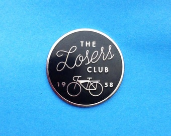 The Loser's Club IT Enamel Pin Stephen King Pennywise Clown Scary Halloween Horror Book Tim Curry 1950's Silver Bike Rubber Lapel