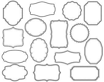 CLIP ART: 15 Digital Scrapbook Frames // Clipart // Decorative Border // Supplies Vector // Craft DIY // Transparent Middle // Commercial