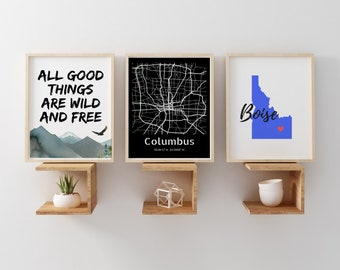 Columbus Print Home Decor, Columbus Poster Art Print, Columbus Ohio Wall Hanging, Black and White Map Print