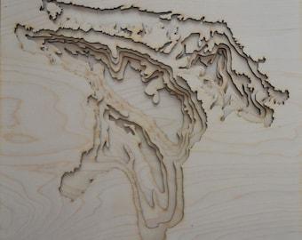 Plywood Laser Cut Lake Huron Topography