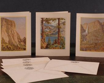 Yosemite Park, Awahnee Picture Menu Cards w/Original Envelopes - Glacier Point/El Capitan/Yosemite Falls