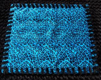 Blue Leopard Print Faux Fur Pet Bed Available in L