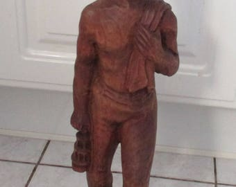 Vintage figure,hand carved sculpture,minerstatue