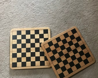 Vintage wooden chess and Chinese checker boards