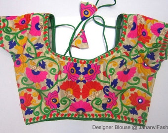 Readymade Embroidery Saree Blouse with round neck  Multicolor Embroidery blouse - All Sizes - Sari Blouse - Saree Top - Sari Top - For Women