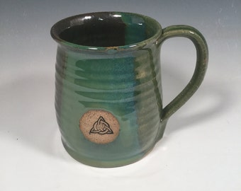 Mug -  Coffee  - Ready to Ship - Ocean Green - Celtic Knot Stamp - Trinity Knot - Triskele  - Rope handle - ceramics - pottery - stoneware