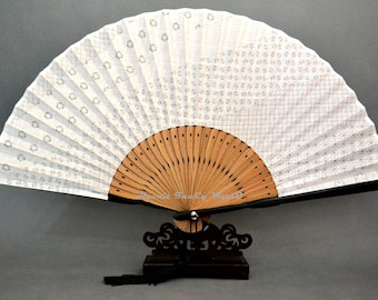 Japanese White hand fan Cloth fabric, Kimono Sensu, hand fan,  folding fan, wedding fan, dancing fan