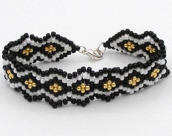 Toho Seed Bracelet, Black Gold and White