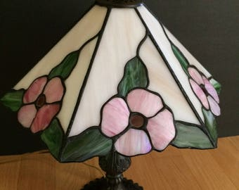 vintage stained glass lamp with floral motif