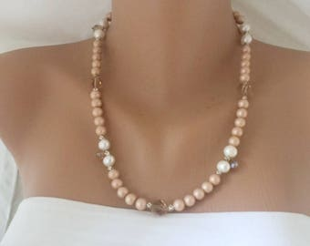 Powder Blush Glass Pearl Necklace with Freshwater Pearls and Crystals
