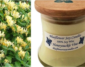 Scented Soy Candle Honeysuckle Vine Hand Poured 12 oz Jar With Wood Lid