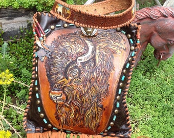 SOLD**** Special Order**Southwestern Hand  Tooled Leather Buffalo/Feather Art  Tuquoise Beaded Crossbody Handbag..
