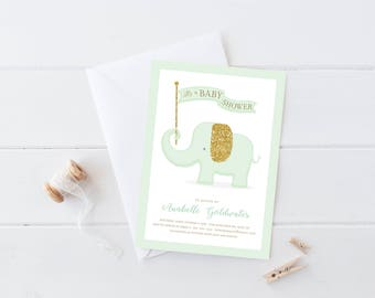 Elephant Baby Shower Invitation . Mint and Gold . Boy Girl Twins Baby Shower Invitation . Gender Neutral Invitation . Printable Download