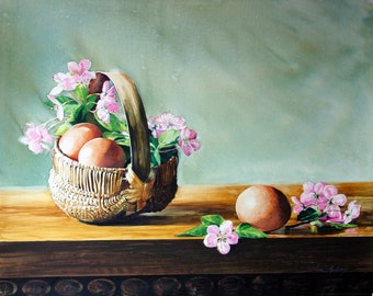 Miniature Basket with Eggs and Apple Blossoms