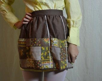 60s brown floral reversible pocket apron