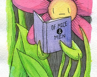Flower Painting, Flower literature painting, Watercolor, Of Mice & Men