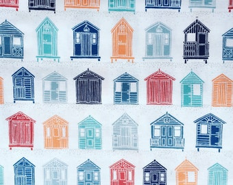 Makower fabric, The Henley Studio, Nautical fabric, Marina collection fabric by Makower, Beach huts, Fishes, Stripes pattern fabric, Cotton