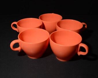 Vintage, MELMAC, Melamine, Orange, Coffee cups, Tea cups, Set of 5, Dinnerware, Hard Plastic, Made in Canada, rare