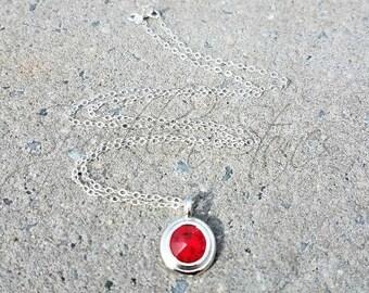 Swarovski Crystal Necklace, Red Swarovski Crystal Pendant Necklace, Light Red Siam Swarovski Crystal Necklace, Round Crystal Necklace