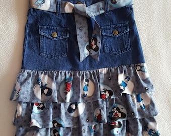 Skirt 8 denim top and bottom with 3 pretty cotton print ruffles