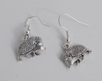 Curious Little Hedgehog Earrings | Silver Hedgehog | Cute Hedgehog Charm Earrings