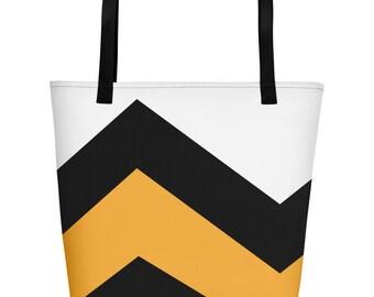 Sale | Minimal Beach Bag, ZIG ZAG SUNSHINE, Women's Fashion, Stylish Shopper, Minimal Design Bag, Gift for Women, Retro, Fashion, Gift