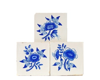 Antique Ceramic Tiles Decorative Blue White Wall Set of Three Tile Delft Flowers Leaves Flower Rustic Farmhouse Wall Decor FREE SHIPPING